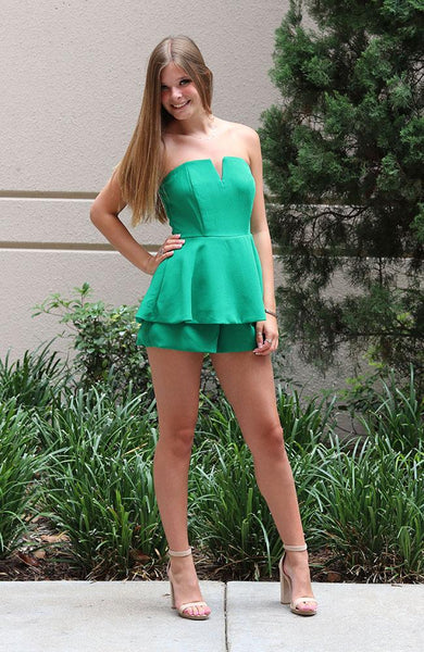 Green Top Layered Romper