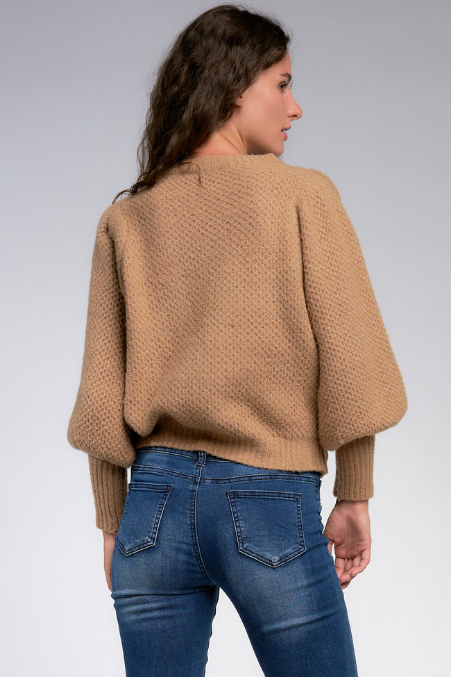 Tan Colored Puff Sleeve Crew Neck Sweater