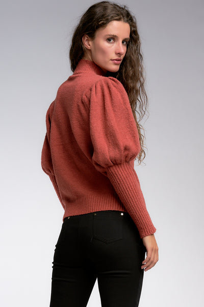 Rust Colored Puff Sleeve Mock Neck Sweater