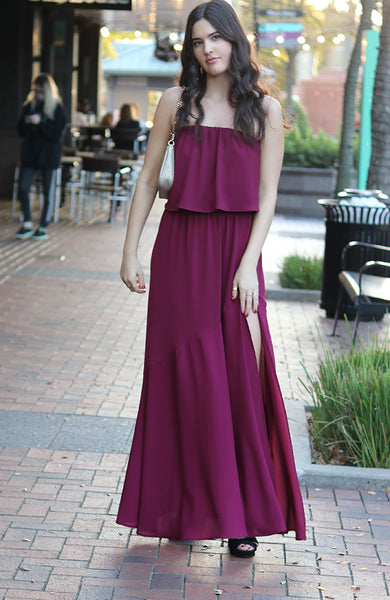 Wine Colored Side Slit Strapless Maxi Dress