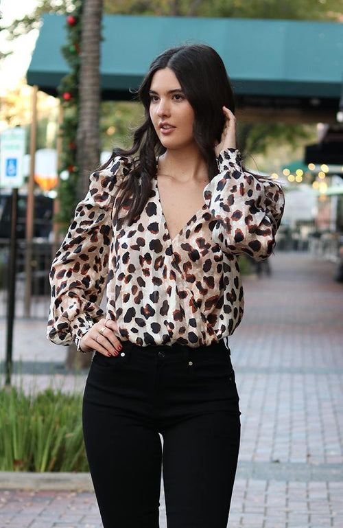 Animal Print Surplice Bodysuit