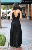 Black Tuck Pleat Cami Maxi Dress