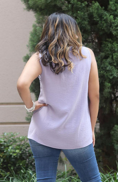 Lavender Sleeveless V-Neck Top - THE WEARHOUSE