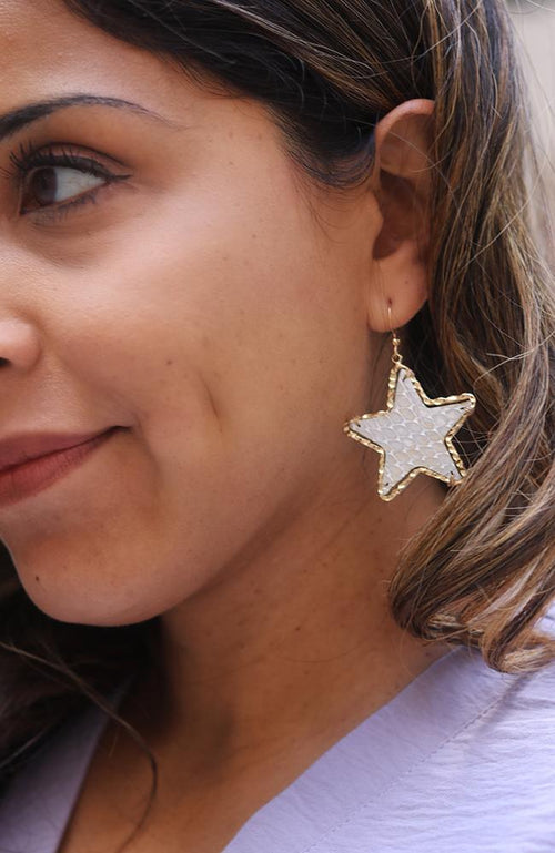 Gold and White Star Statment Earrings - THE WEARHOUSE