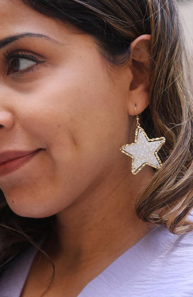 Gold and White Star Statment Earrings