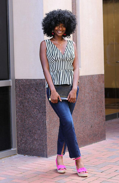 Montana Striped V Neck Top With Fitted Waist