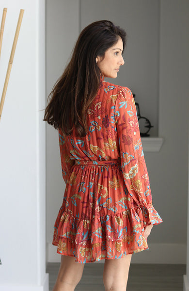Rust Colored and Floral Print Woven Dress