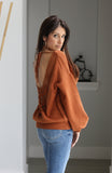 Rust Colored Open-Back Lace Detail Sweater