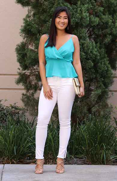 Turquoise V Neck Spaghetti Strap Top - THE WEARHOUSE