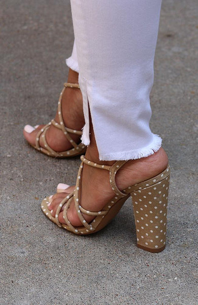 Taupe and White Polka Dot High Heel
