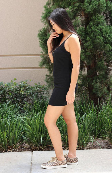 Black Solid Rib Cami Bodycon Dress