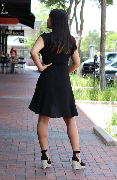 Black V neck Ruffle Dress