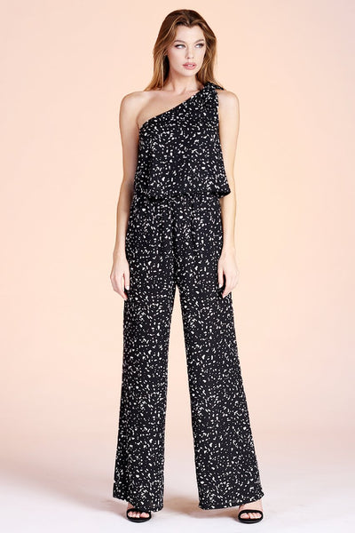 Black One Shoulder Spotted Jumpsuit - THE WEARHOUSE