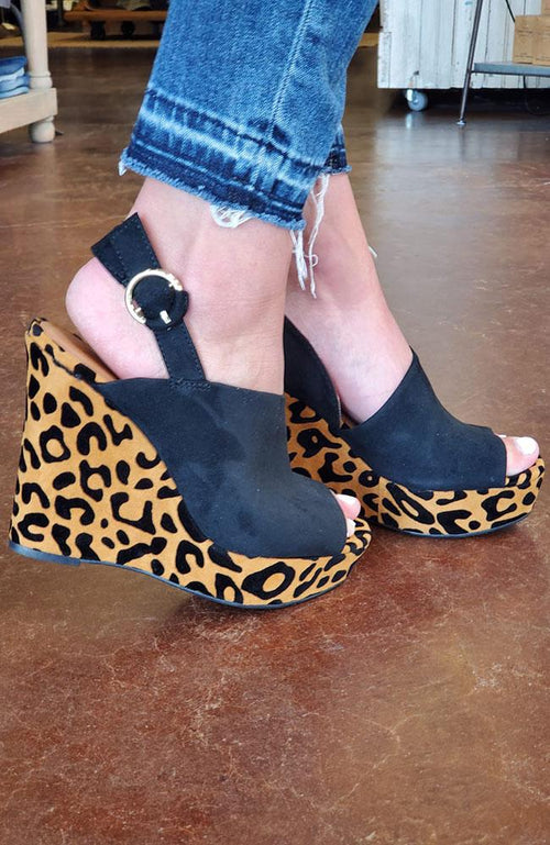 Lila Black and Cheetah Wedges