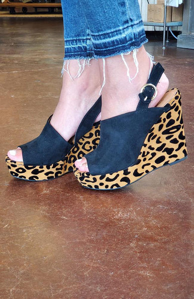Lila Black and Cheetah Wedges - THE WEARHOUSE
