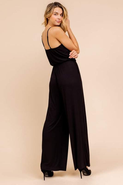 Black Spaghetti Strap Wide Leg Jumpsuit - THE WEARHOUSE