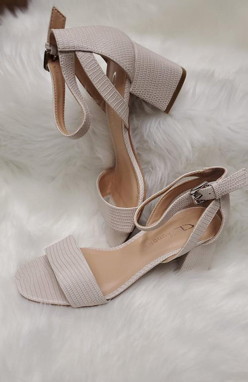 Cream Reptile Skin Heels - THE WEARHOUSE