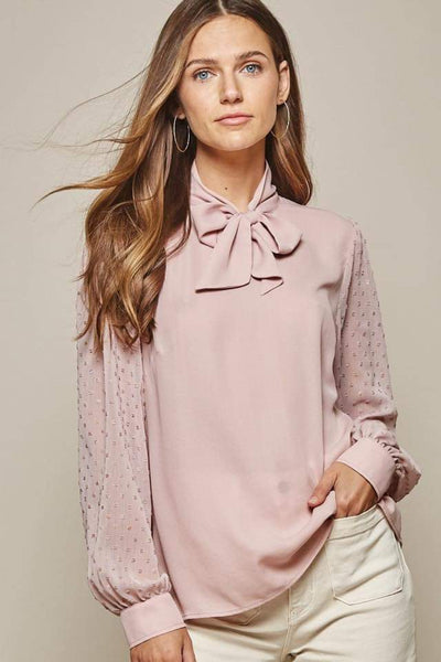 Mauve Swiss Dotted Sleeve Top - THE WEARHOUSE