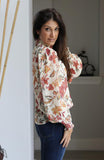 Ivory and Floral Printed Woven Top