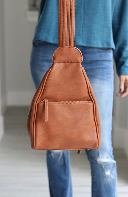 Brown Zipper Strap Backpack