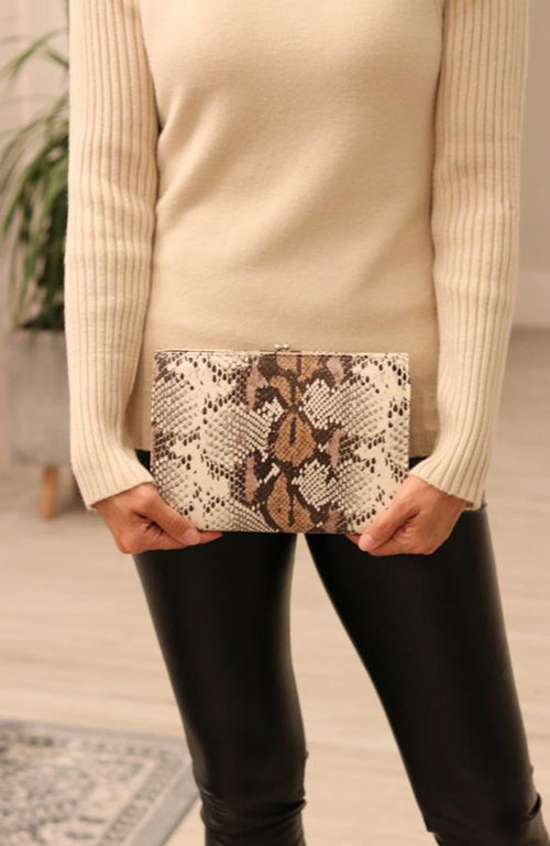 Brown and Ivory Reptile Clutch