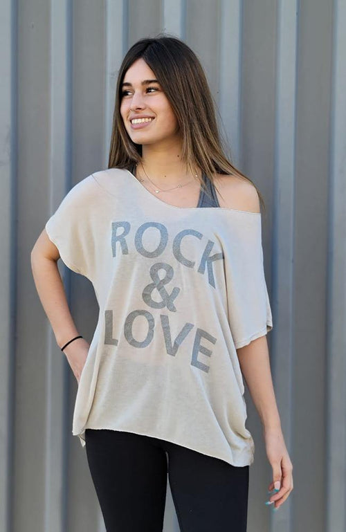 "Beige Colored ""Rock & Love"" Short Sleeve Top"