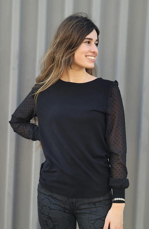 Black Dotted Sheer Sleeve Top - THE WEARHOUSE