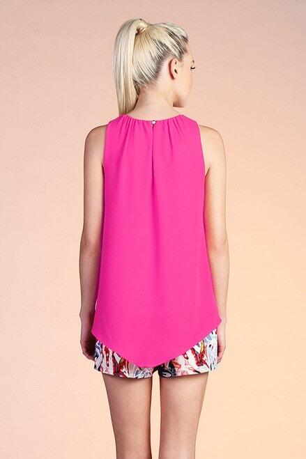 Fuchsia Solid Gathered Neck Top