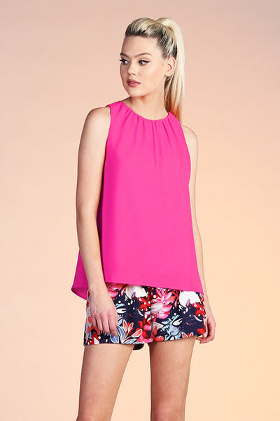 Fuchsia Solid Gathered Neck Top - THE WEARHOUSE