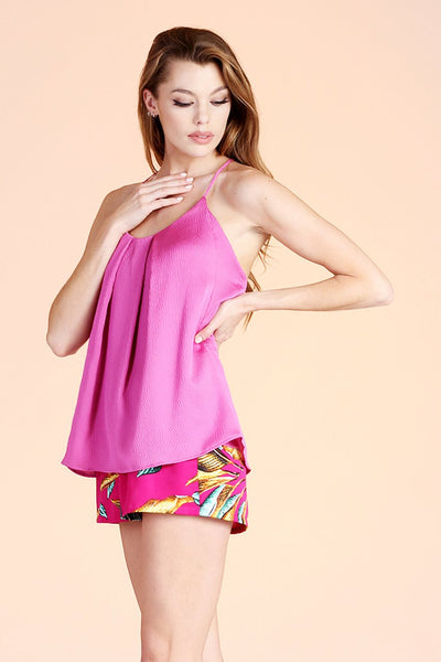 Pink Satin Tuck Pleat Cami Top - THE WEARHOUSE