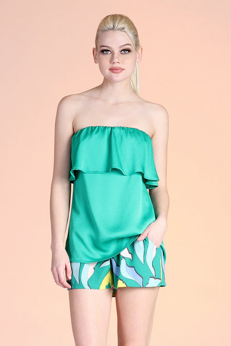 Mint Green Flutter Short Sleeve Top
