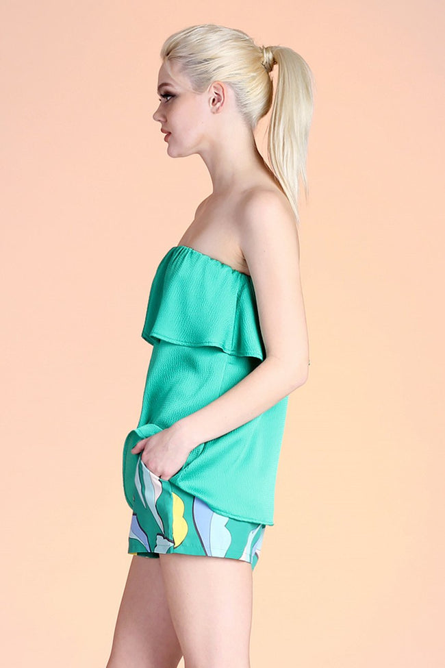 Green Hammered Satin Strapless Top