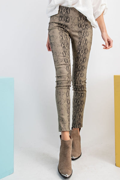 Olive Colored Snakeskin Print Skinny Pants
