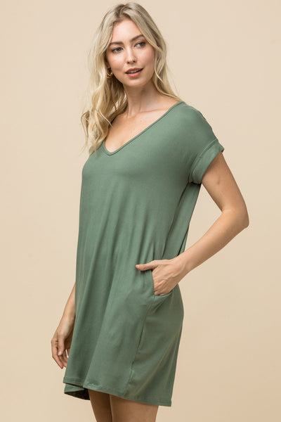 Army Green V-Neck Pocket Dress