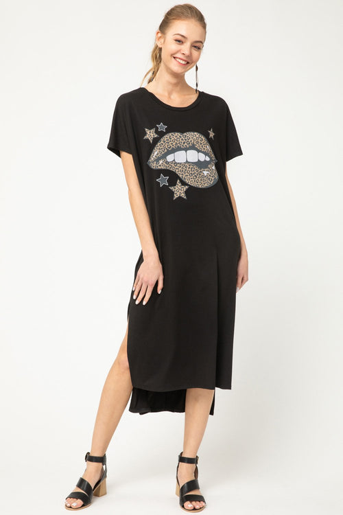 Black and Leopard Lips T-Shirt Dress - THE WEARHOUSE