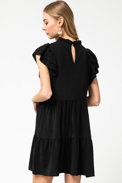 Black Solid Tiered Mock Neck Dress