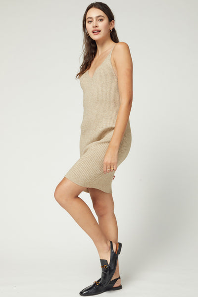Oatmeal Colored Ribbed V Neck Sleeveless Sweater Dress