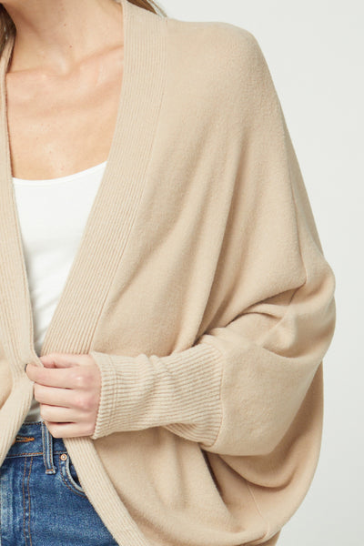 Sand Colored Open Front Shawl Cardigan