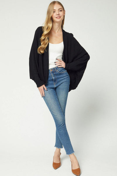 Black Colored Open Front Shawl Cardigan - THE WEARHOUSE