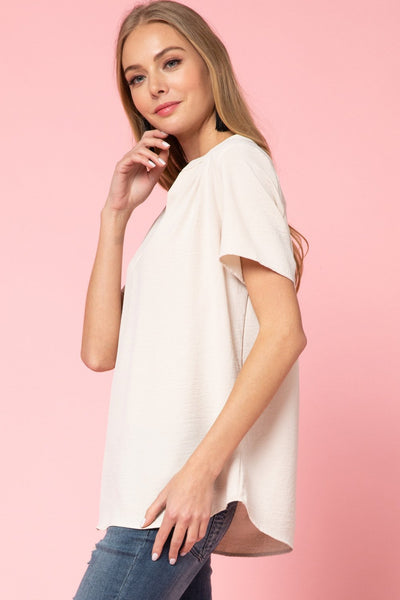 Oatmeal V Neck Sleeveles Top - THE WEARHOUSE