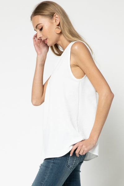 Ivory Colored Sleeveless V-Neck Top