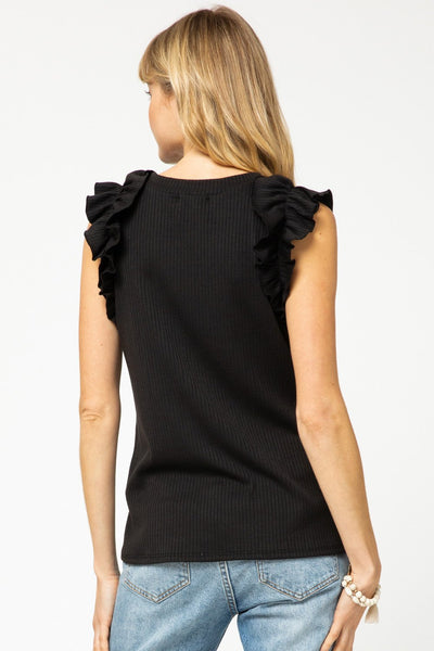 Black Ribbed Sleeveless Top