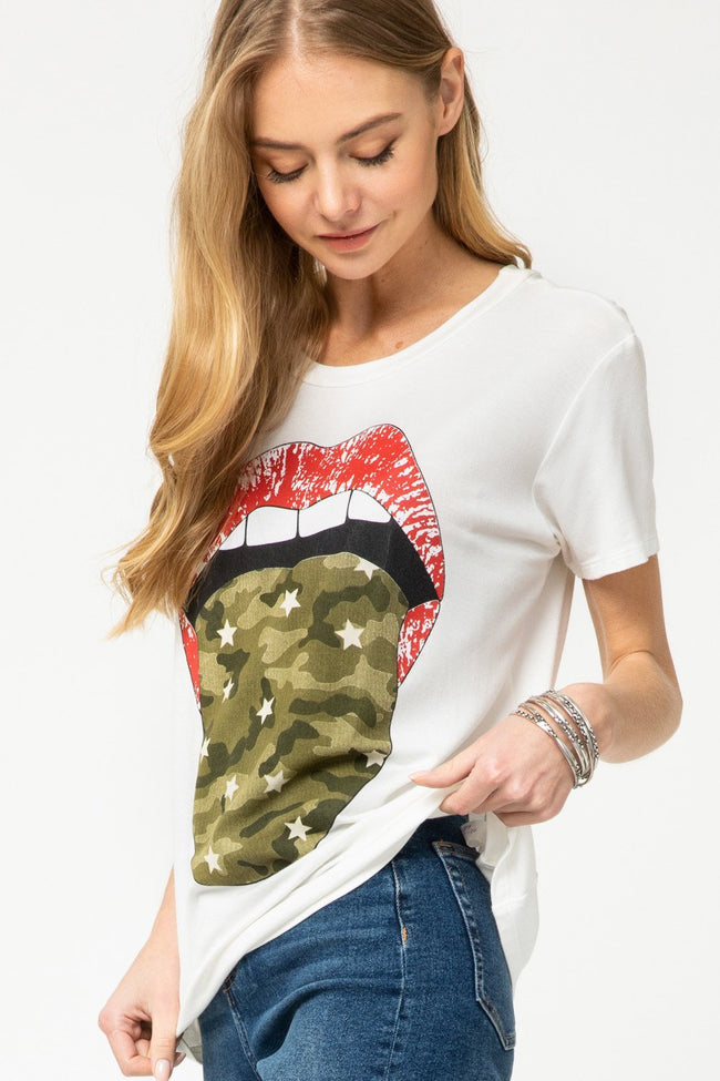 White and Camouflage Lip Graphic Tee