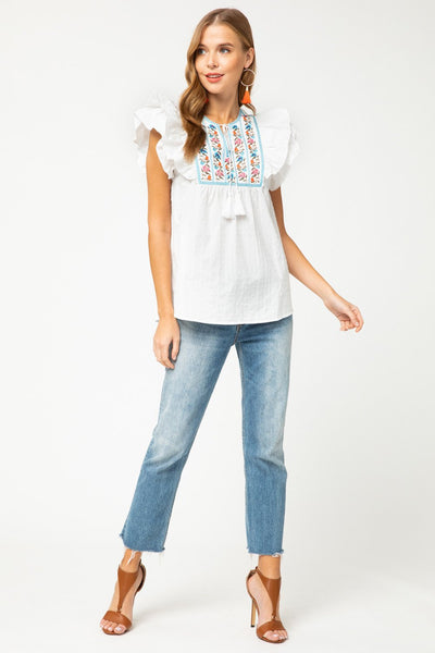 White Dotted-Swiss Embroidered Top - THE WEARHOUSE
