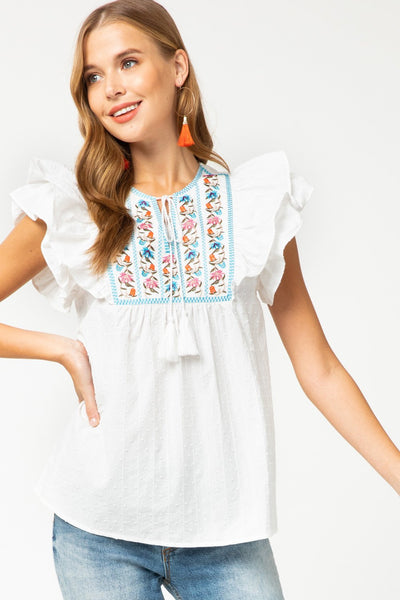 White Dotted-Swiss Embroidered Top