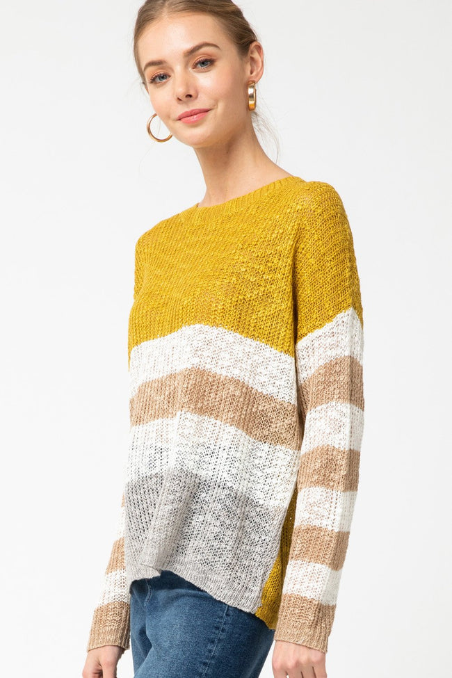 Kiwi Striped Color Block Sweater - THE WEARHOUSE