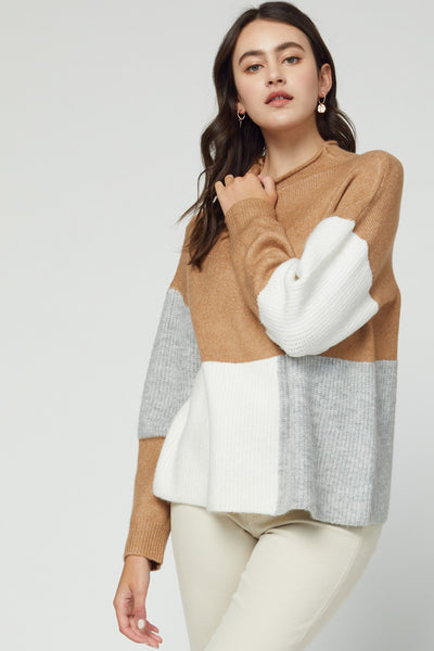 Camel Color Block Turtleneck Sweater