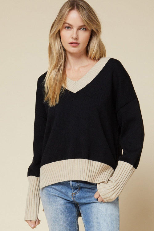 Black and Tan Solid Knit V-Neck Sweater
