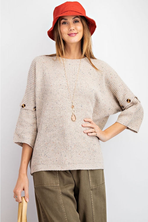 Oatmeal and Speckle Convertible Sleeve Sweater