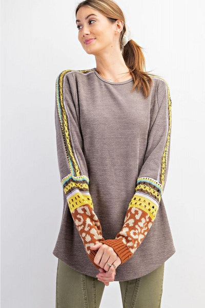 Ash Colored Top with Detail Sleeves